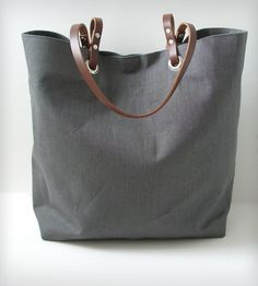 Linen and Leather Tote Bag - Gray | Women's Bags & Accessories | Independent Reign | Scoutmob Shoppe | Product Detail
