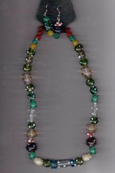 Color Spot Mix Artisan Beads Handmade Necklace and Earring Set #Handmade #StrandString