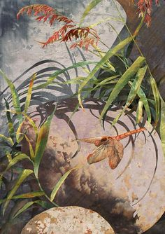 Common Darter with Boulders by Amanda Richardson - textile collage