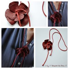 leather flower pendant by // Between the Lines //, via Flickr