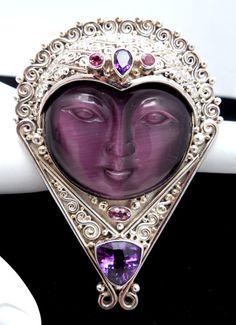 Vintage Sajen Sterling Silver Carved Face Brooch Pendant Amethyst Purple Gems #Sajen