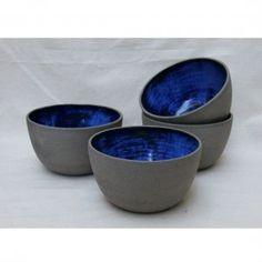 Handmade Ceramic Bowl in grey and cobalt blue