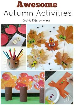 All of the awesome Autumn or Fall Activities for kids that have featured over on Crafty Kids at Home. Including ideas for autumn leaves, autumn trees, scarecrows, apples, hedgehogs and spiders. Which one will you try first?