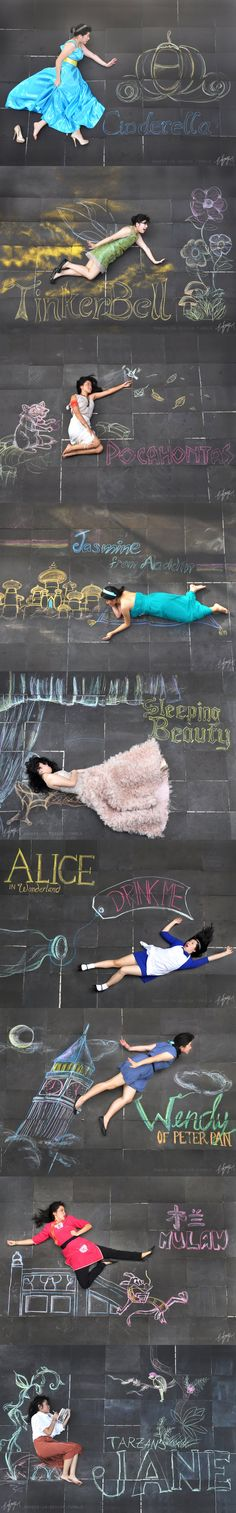 Disney Ladies Chalk Photography. BRILLIANT! WOAH IN AWWe8)
