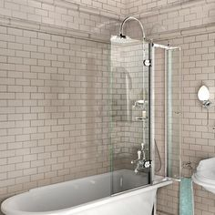Burlington bathscreen for traditional bath. Clever little access screen £279 for turning on the shower. Burlington baths are sold at Burge & Gunson, Colliers Wood