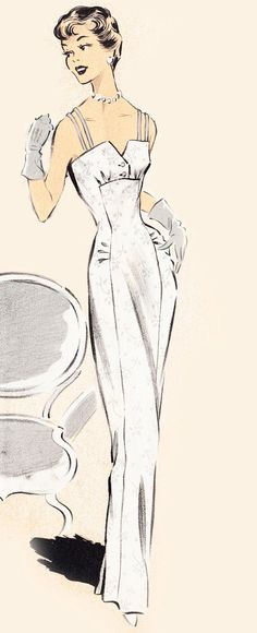 Vintage Sewing Pattern 1950's Cocktail or Wedding Dress in Any Size - PLUS Size…