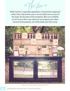 Love the mirrored bar with wine and glasses displayed in wine crates. Styling the Reception | WeddingWire FALLBOOK 2014