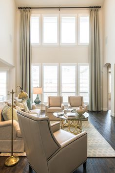 two-story family room | Interiors by Kathy Rollins