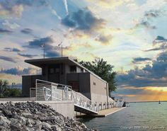 FLW. Fontana Boathouse. Designed in 1905 for the University of Wisconsin. Realized in 2007 in Buffalo, New York. On Niagara River where it meets Lake Erie