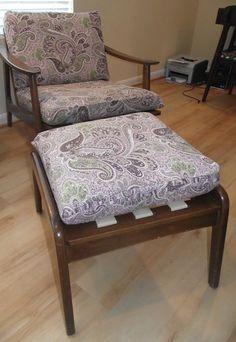 Vintage Danish Modern Chair Matching Ottoman