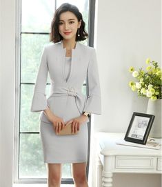 New Style 2018 Fashion Grey Blazer Women Business suits Dress and and  Jacket Sets Ladies Office Uniform Designs f38d79be605