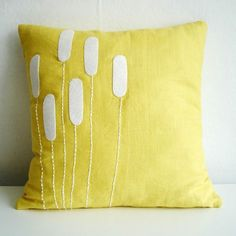 Sewing Pillows Handmade Pillows from Sukan Art . Yellow Cover with White Motif Cattails - We've lost an hour of sleep, but don't fret: the weather is growing warmer and the evenings will be better lit Gold Pillows, Cute Pillows, Diy Pillows, Linen Pillows, Cushions, Wash Pillows, Colorful Pillows, Rustic Decorative Pillows, Handmade Pillows