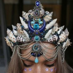 big gypsy moon crown by chelseasflowercrowns on Etsy Shell Crowns, Seashell Crown, Gypsy Moon, Mermaid Crown, Headpiece Jewelry, Festival Costumes, Magical Jewelry, Mermaid Tails, Crystal Crown