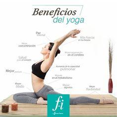 #tipFI: Beneficios del Yoga. Paz mental. Mayor oxigenación en el cerebro. Mejor postura. Más fuerza en tus brazos. Mejor flexibilidad. Aumento de la capacidad pulmonar. Salud para el corazón. Mejoría en el metabolismo. Mejor digestión. Mayor libido. Mejor concentración.