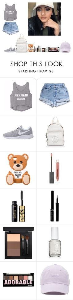 """""""-Glo Queen"""" by thegloup-reina on Polyvore featuring Levi's, NIKE, Anya Hindmarch, Moschino, Burberry, tarte, Giorgio Armani, MAC Cosmetics, Essie and Charlotte Russe"""