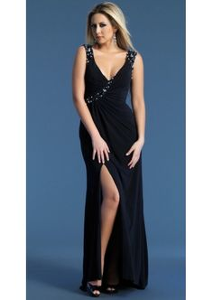 Discount Beautiful Slim V-neck with Beaded Chiffon Floor Length Prom Dress Online