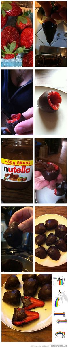Chocolate Dipped Nutella Filled Strawberries...No Recipe But Easy Enough