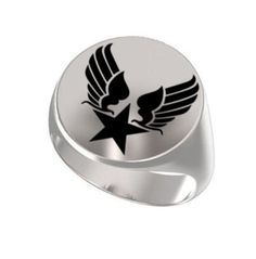 Signet Ring, Ring Mens, Personalized Ring, United States, Air Force, Arnold Symbol, Engraved Round, 925 Sterling, Statement Ring https://www.etsy.com/shop/Ronninfinity