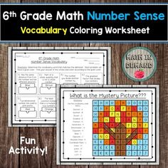 Students will be given 16 vocabulary words and definitions on 6th grade math number sense. They will need to match the vocabulary words with the definitions. Students will complete the vocabulary then color the mystery picture according to the given color. Answer key is included. Vocabulary words i... Adding And Subtracting Integers, Adding Decimals, 9th Grade Math, Math Coloring Worksheets, Math Vocabulary, Math Numbers, Number Sense, Math Activities, Definitions