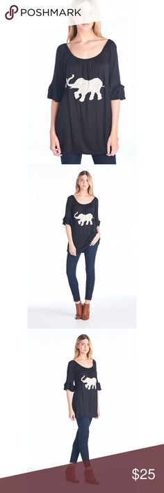 NWOT Plus Sz Embroidered Elephant Boho Tunic Top A delicate embroidered Good Luck elephant  detail lends Chic style to this adorable casual scoop neck Tunic top. Pair with your favorite jeans or leggings for the perfect look! Rayon/Spandex. Hand wash or dry clean. Super Nova Tops Tunics