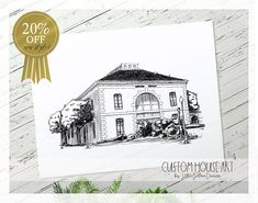 Custom Building Drawing, Black and White, Custom Venue Portrait, Wedding Gift, Personalized Wedding Venue Drawing, Church Building Portrait