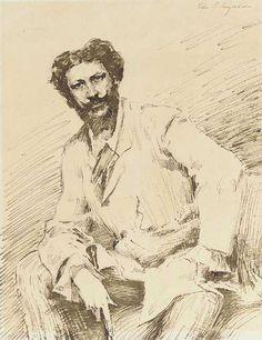 John Singer Sargent - Sketch for portrait of Carolus Duran c. 1879 Ink &…