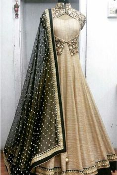 Style of India Golden and Black Raw silk heavy Embroidered Party wear Anarkali Dress Matirial at Rs. Anarkali Dress, Anarkali Suits, Pakistani Dresses, Indian Dresses, Indian Outfits, Patiala Salwar, Long Anarkali, Lehenga Choli, Indian Attire