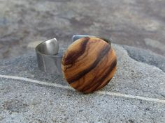 Wooden Rings –  Ring olive wood 14 mm stainless steel – a unique product by Alentejoazul on DaWanda