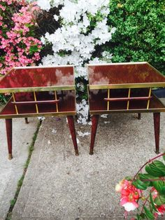Double tiered mid century pair of side tables