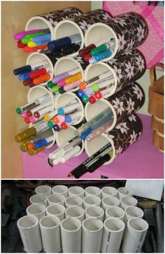 25 Life-Changing PVC Pipe Organizing and Storage Projects - Page 2 of 2 - DIY & Crafts Pvc Pipe Storage, Craft Room Storage, Craft Organization, Storage Ideas, Marker Storage, Pvc Pipe Projects, Cute Pens, Creation Deco, Ideias Diy