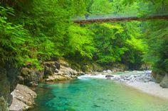 長野県大桑町の木曽川の支流、阿寺川には美しいエメラルドグリーンの川が流れる渓谷「阿寺渓谷(あてらけいこく)」がありました。光によって色の濃さを変える水の色はため息が出るほど美しい...。上流には集落もダムも何もないという手付かずの自然「阿寺渓谷」に身も心も癒されにいきましょう! Beautiful Places In Japan, Beautiful World, Beautiful Scenery, Japan Countryside, Green Scenery, Japanese Landscape, Visit Japan, Natural Scenery, Great View