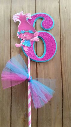 Poppy trolls cake topper 5.5 inches poppy by SilviasPartyDecor