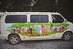 The Mount Druid resident minibus. Magda & Stu's Delightfully Colourful Mount Druid Wedding, Castletown Geoghegan, Co. Westmeath — Weddings By Kara Kara, Wedding Inspiration, Weddings, Pictures, Color, Ideas, Photos, Wedding, Colour