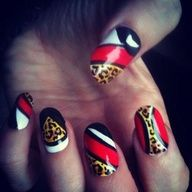 Red black white #nails with #leopard design #nailart