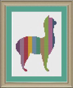 Llama with stripes: cute cross-stitch pattern via Etsy
