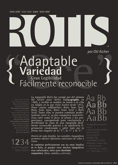 """""""Tipografía Rotis""""Afiche Tipográfico, plegable.  """"Typography Rotis"""" Typographic Poster , foldable."""
