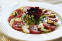 Try this on a hot summer day: mozzarella and tomato salad with pesto.