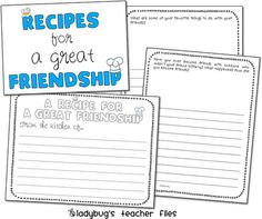 Topic: Friendship/Get to know you. Activity: recipe for friendship, great activity to go along with the book-Enemy Pie