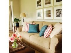 Lovely Living Room Design with Tan Couch