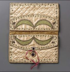 Mid to late 18th century, Europe - Pocketbook - Silk; satin embroidered with silk, metallic threads, metal spangles, metal purl, enameled gilt lockplates, lock and key
