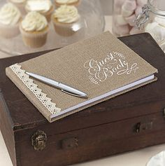 Hessian Burlap And Lace Wedding Guest Book - albums & guest books