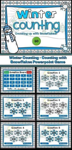 Wintertime is here! Practice counting to 100 with the fun snowflake counting game. Students are given the first number and they must count the next four (4) numbers. A fun way to practice counting to 100.