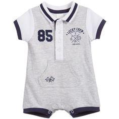 iDo Baby Boys Grey Marl & Blue Polo Shirt Shortie at Childrensalon.com