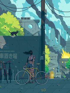 Bike Parking Area by Miquel Muerto Bmx, Bike Mtb, Bicycle Illustration, Illustration Art, Wakeboarding, Mountain Biking, Bike Drawing, Bicycle Art, Bicycle Shop