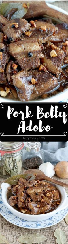 Try this melt in your mouth Pork Adobo Recipe using pork belly with a perfect balance of saltiness, acidity, and garlicky goodness! Filipino Recipes, Asian Recipes, Filipino Food, Pinoy Food, Hawaiian Recipes, Filipino Dishes, Entree Recipes, Sandwich Recipes, Lunch Recipes