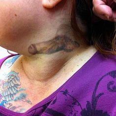 hmmm....is that a cock on your neck? I'd like to see you at a job interview!  #tattoos #dick