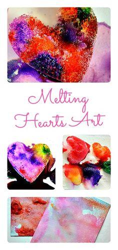 Artsy Science activity.. Melting Hearts Art