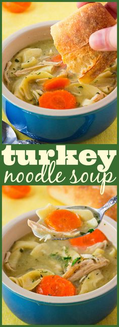 super easy turkey noodle soup to warm you up on cold nights. And the perfect way to use turkey leftovers!A super easy turkey noodle soup to warm you up on cold nights. And the perfect way to use turkey leftovers! Leftover Turkey Soup, Turkey Leftovers, Homemade Turkey Soup, Turkey Crockpot Soup, Easy Turkey Soup, Easy Leftover Turkey Recipes, Cooked Turkey Recipes, Leftover Ham, Turkey Noodle Soup