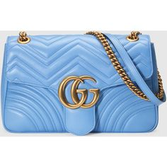 Gucci Gg Marmont Matelassé Shoulder Bag (25.265.575 IDR) ❤ liked on Polyvore featuring bags, handbags, shoulder bags, blue purse, leather shoulder handbags, blue handbags, blue leather purse and shoulder hand bags