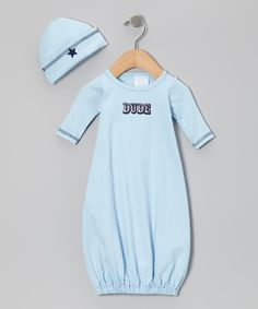 Take a look at this Blue 'Dude' Gown & Beanie by Too Sweet on #zulily today!